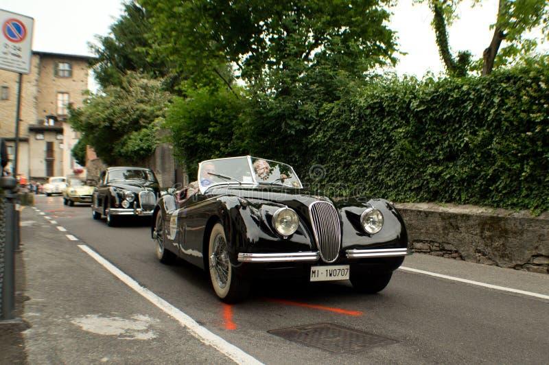 Jaguar XK120 przy Bergamo Historyczny Uroczysty Prix 2015 obraz royalty free