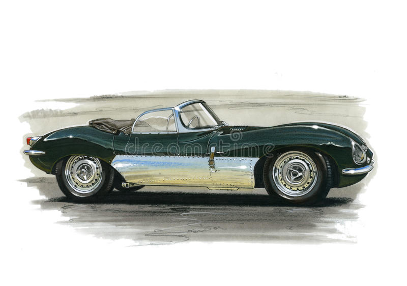 Jaguar XK SS stock illustrationer