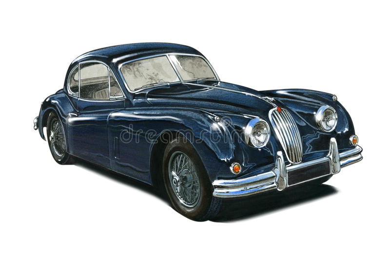 Jaguar XK140 stock illustrationer