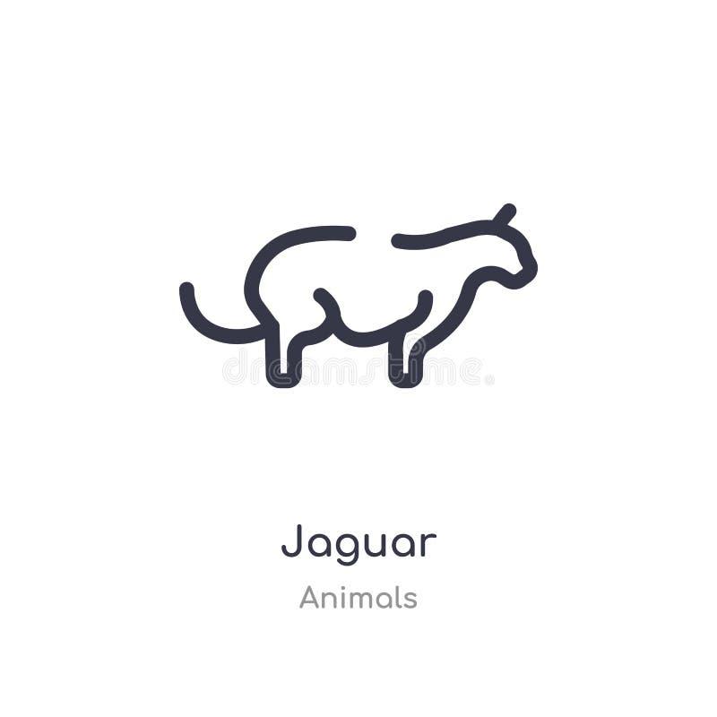 jaguara konturu ikona odosobniona kreskowa wektorowa ilustracja od zwierz?t inkasowych editable cienieje uderzenie jaguara ikonę  ilustracja wektor