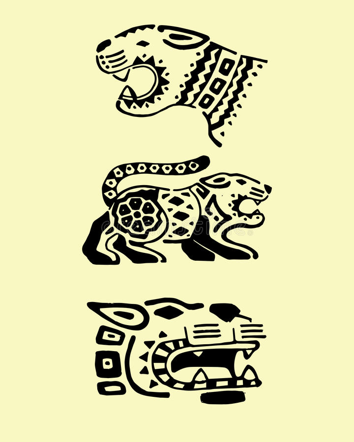 Jaguars de Prehispanic illustration de vecteur