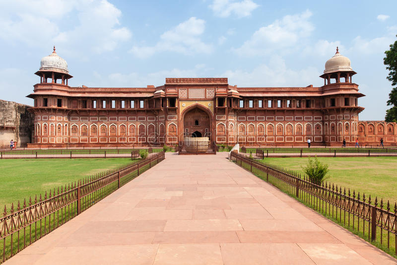 Jahangir Palace, fort d'Âgrâ images stock