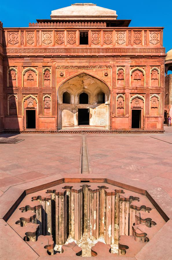 Jahangiri Mahal, een paleis bij Agra-Fort Unesco-de plaats van de Werelderfenis in India stock foto's