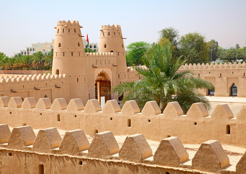 Jahili fort. Famous Jahili fort in Al Ain oasis, United Arab Emirates stock image