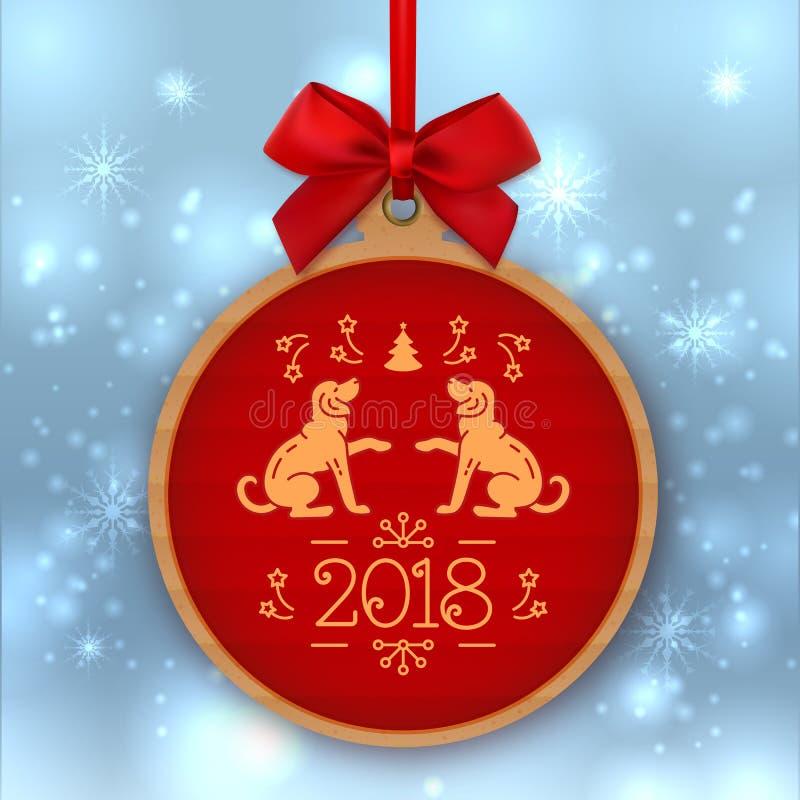 Jahr der Hunde-Fahne 2018 Nr. 2018 und goldene Hunde auf einem roten Hintergrund Weihnachtsgeschenktag des Kraftpapiers, Vektor stock abbildung