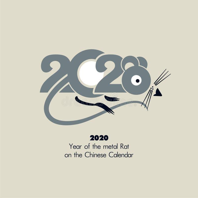 Jahr der Metallratte 2020 auf dem chinesischen Kalender lizenzfreie abbildung