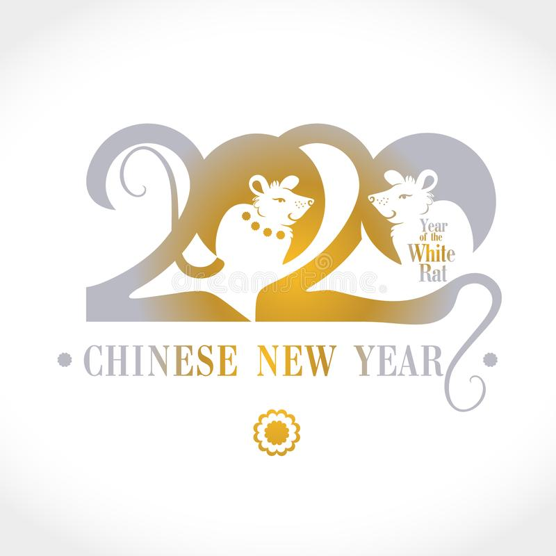 Jahr der Ratte Chinesisches Neujahr Schöne Karte 2020 flaches Design mit zwei niedlichen weißen Ratten und handgeschriebener Insc lizenzfreie stockfotos