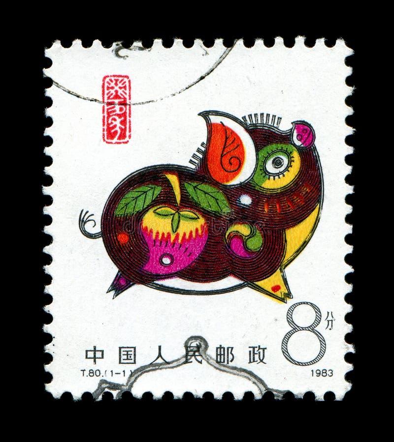 Jahr des Ebers in der Briefmarke stockfoto