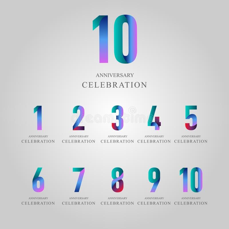 Jahr-Jahrestags-Feier stellte Vektor-Schablonen-Entwurfs-Illustration ein stock abbildung