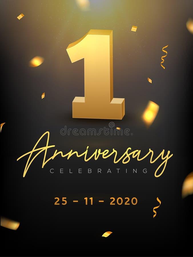 1. Jahr-Jahrestags-Feierereignis Goldener Vektorgeburtstag oder Hochzeitsfestglückwunschjahrestag 1. vektor abbildung