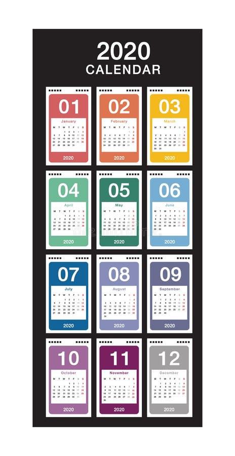 Jahr 2020 Kalendervektordesign-Vorlage, einfach und sauber Kalender für 2020: Weißer Hintergrund für Organisation und Bus stock abbildung