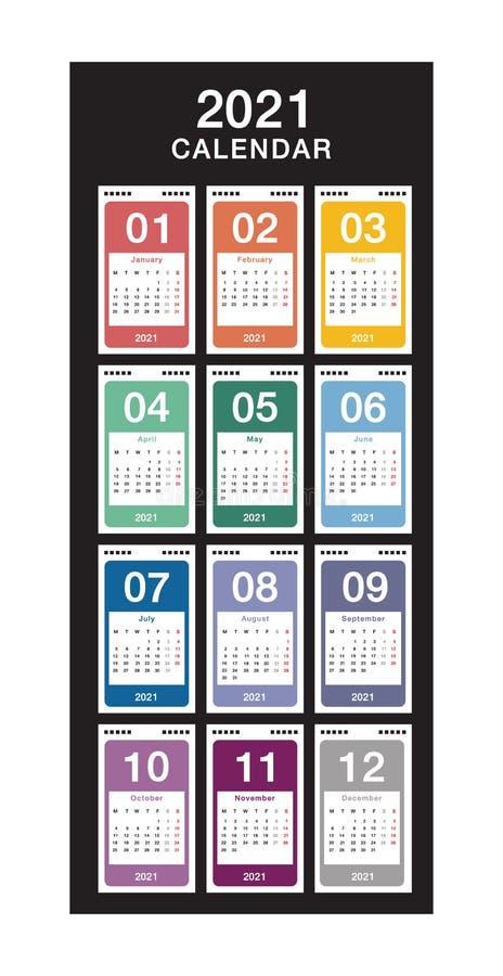 Jahr 2021 Kalendervektordesign-Vorlage, einfach und sauber Kalender für 2021: Weißer Hintergrund für Organisation und Bus stock abbildung