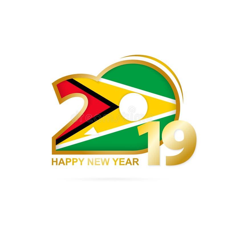 Jahr 2019 mit Guyana-Flaggenmuster Auslegung des glücklichen neuen Jahres lizenzfreie abbildung