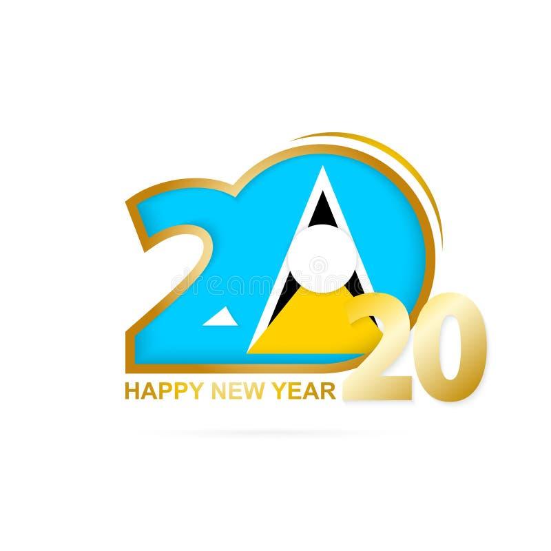 Jahr 2020 mit Heilig-Lucia Flag-Muster Auslegung des gl?cklichen neuen Jahres lizenzfreie abbildung