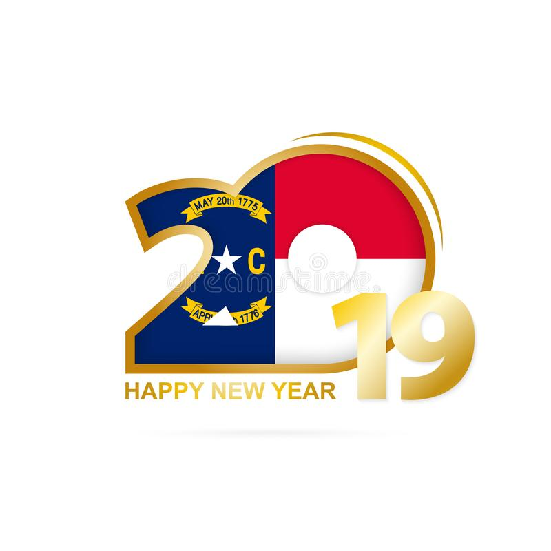 Jahr 2019 mit Nord-Carolina Flag-Muster Auslegung des glücklichen neuen Jahres lizenzfreie abbildung