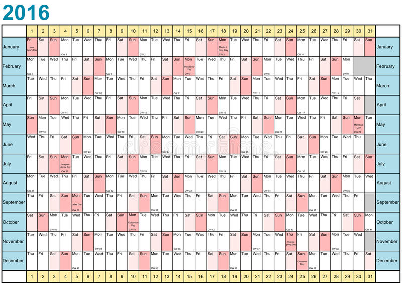 Jahr-Planer 2016 linear mit gesetzlichen Feiertagen für USA vektor abbildung