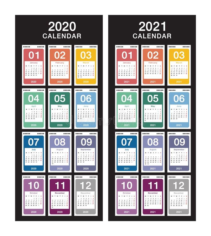 Jahr 2020 und Jahr 2021 Kalendervektordesign-Vorlage, einfach und sauber Kalender für 2021 und 2022 mit weißem Hintergrund stock abbildung