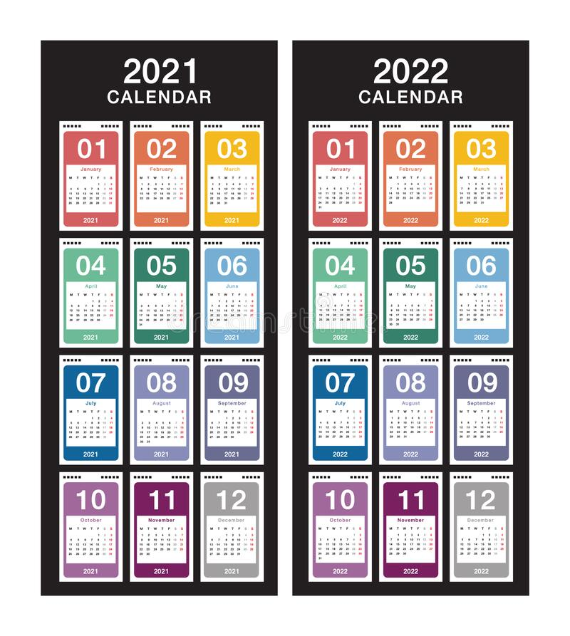 Jahr 2021 und Jahr 2022 Kalendervektordesign-Vorlage, einfach und sauber Kalender für 2021 und 2022 mit weißem Hintergrund stock abbildung