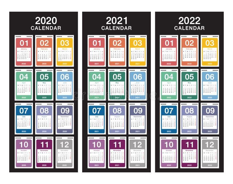 Jahr 2020 und Jahr 2021 und Jahr 2022 Kalendervektordesign-Vorlage, einfach und sauber Zeitplan für 2021 und 2022 für Weißbuch vektor abbildung