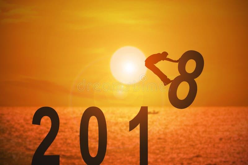 Jahr und Konzepte mit 2018 Nachrichten für Geschäft und Ziel lizenzfreie abbildung