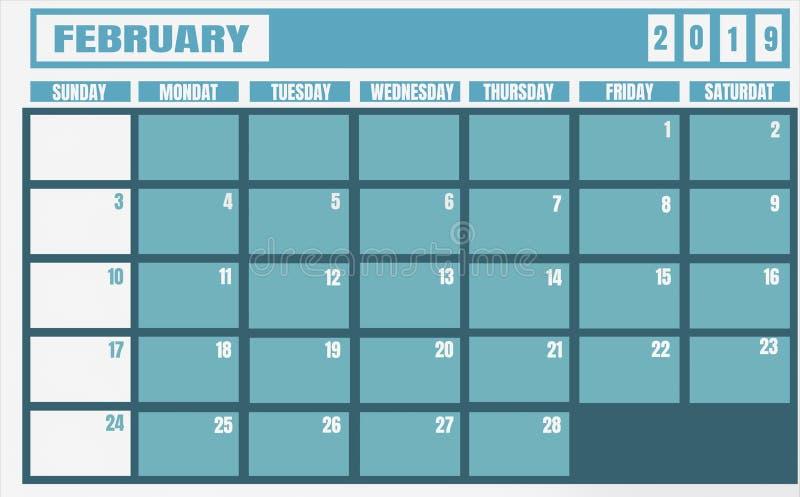 Jahr und Planer Kalender-Februars 2019 für Planungsaufgaben und t lizenzfreie abbildung