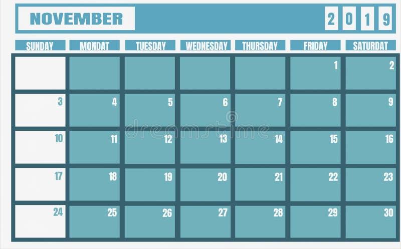 Jahr und Planer Kalender-Novembers 2019 für Planungsaufgaben und vektor abbildung