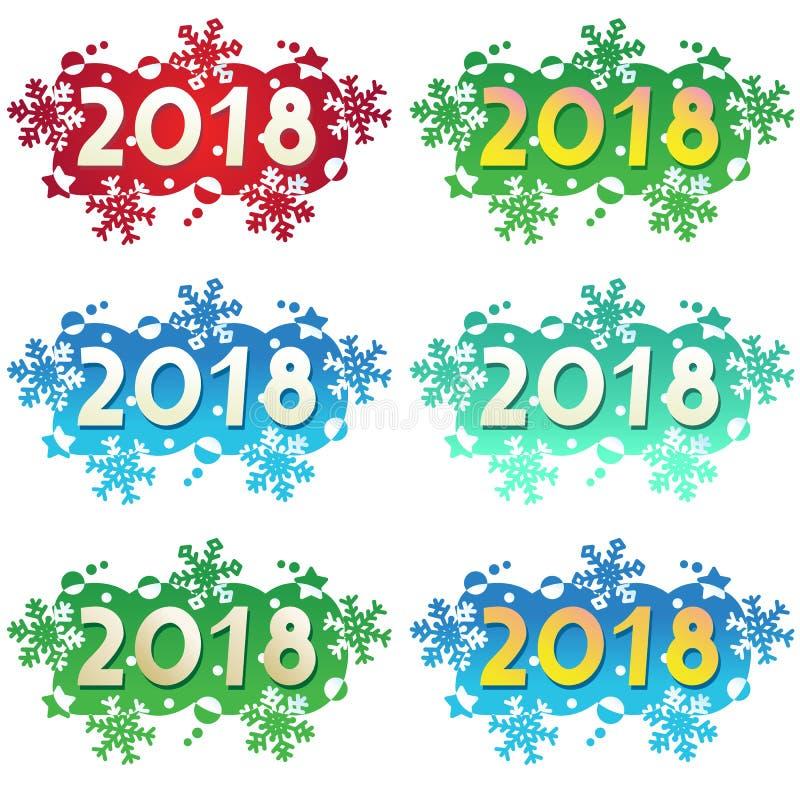 Jahr 2018 verzierte Überschriften oder Fahnen lizenzfreie abbildung