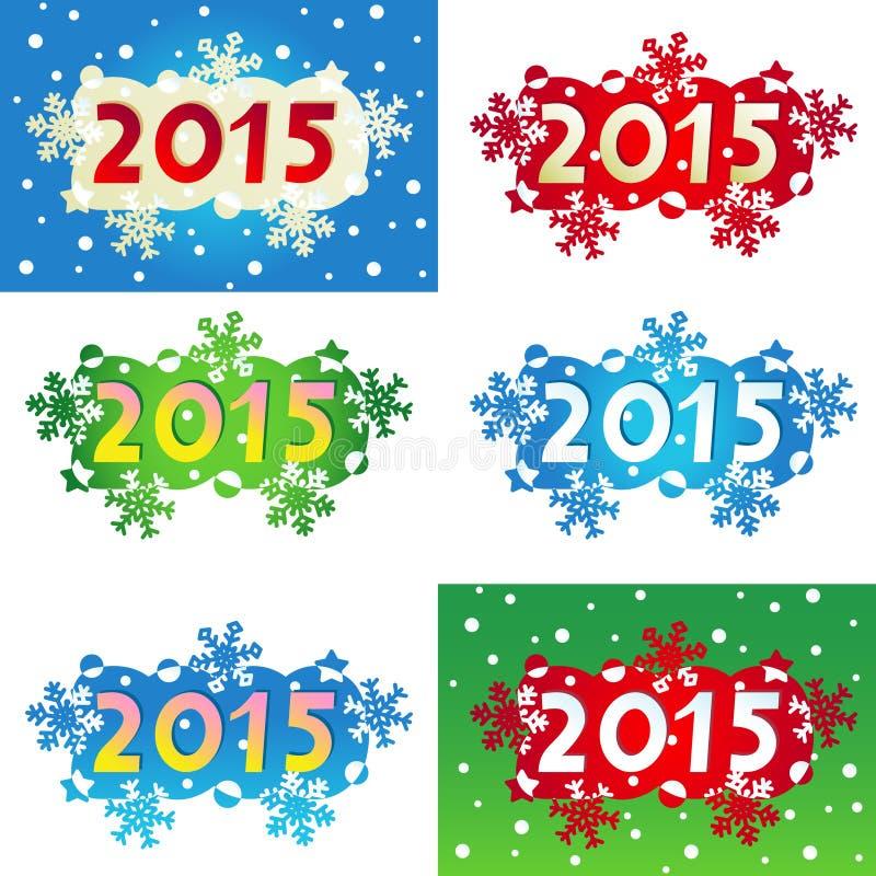 Jahr 2015 verzierte Überschriften oder Fahnen lizenzfreie abbildung