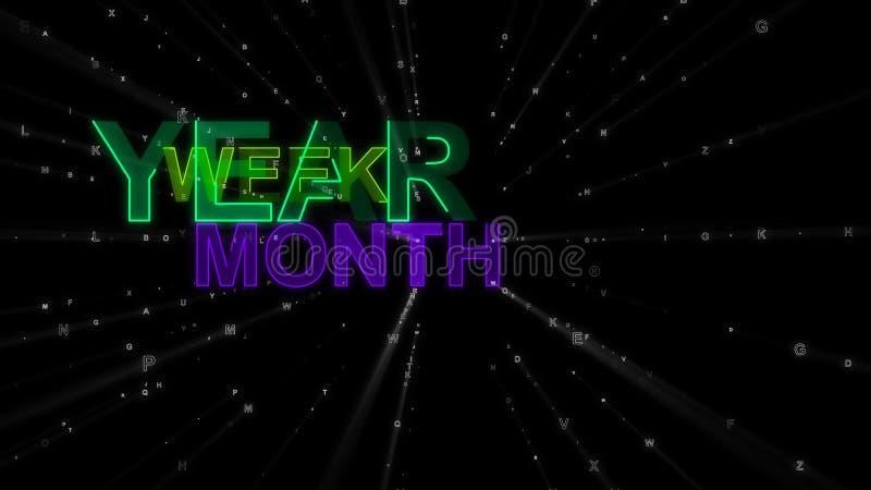Jahr, Woche, Monat als Konzept-Wörter stock abbildung