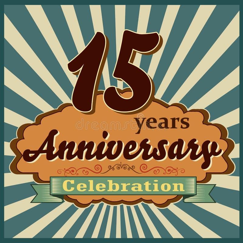 15 Jahre der Feier, Jahrestagsretrostilkarte vektor abbildung