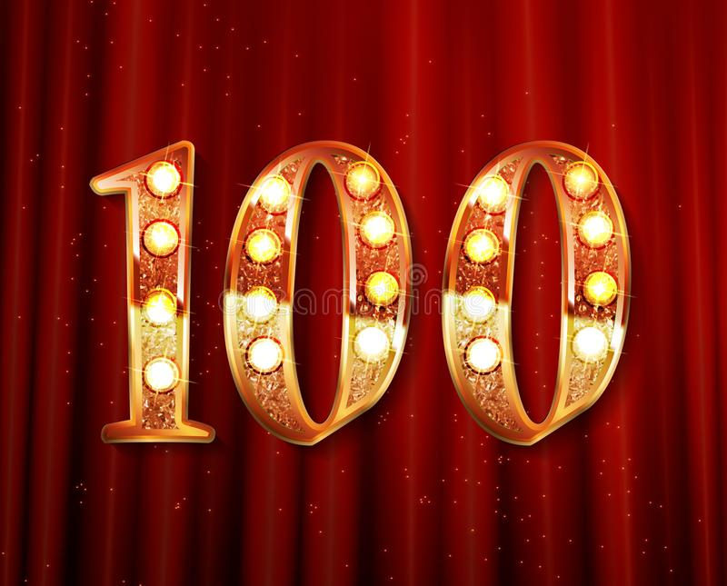 100 Jahre goldene Jahrestagslogo stock abbildung