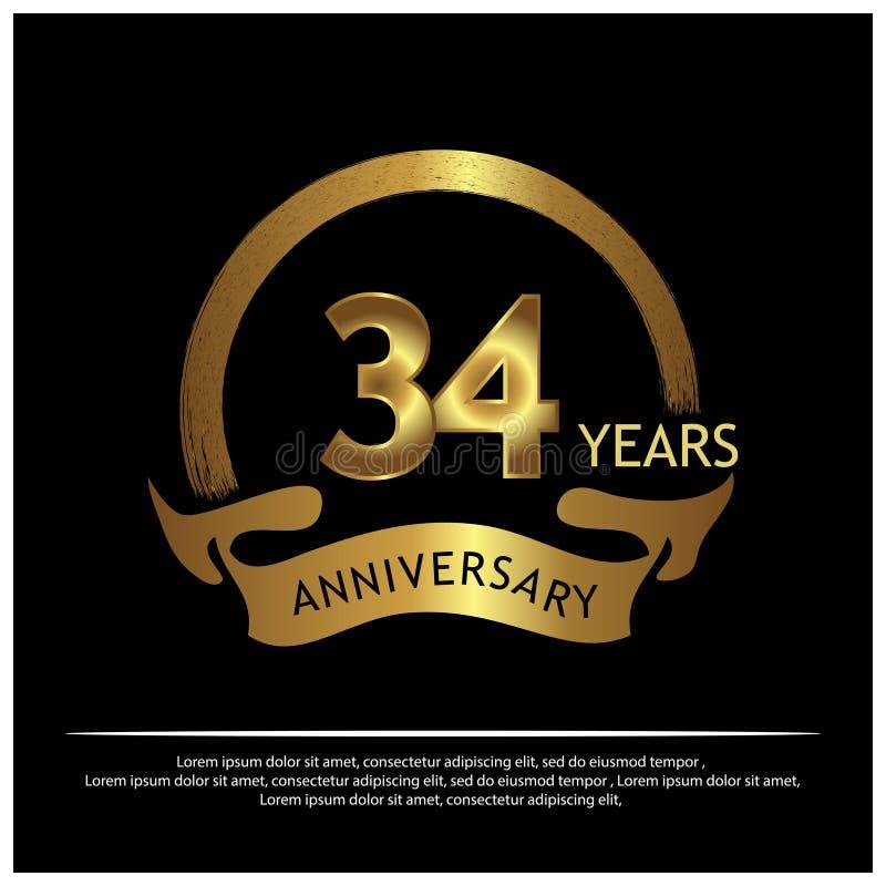 34 Jahre Jahrestag golden Jahrestagsschablonenentwurf für Netz, Spiel, kreatives Plakat, Broschüre, Broschüre, Flieger, Zeitschri vektor abbildung