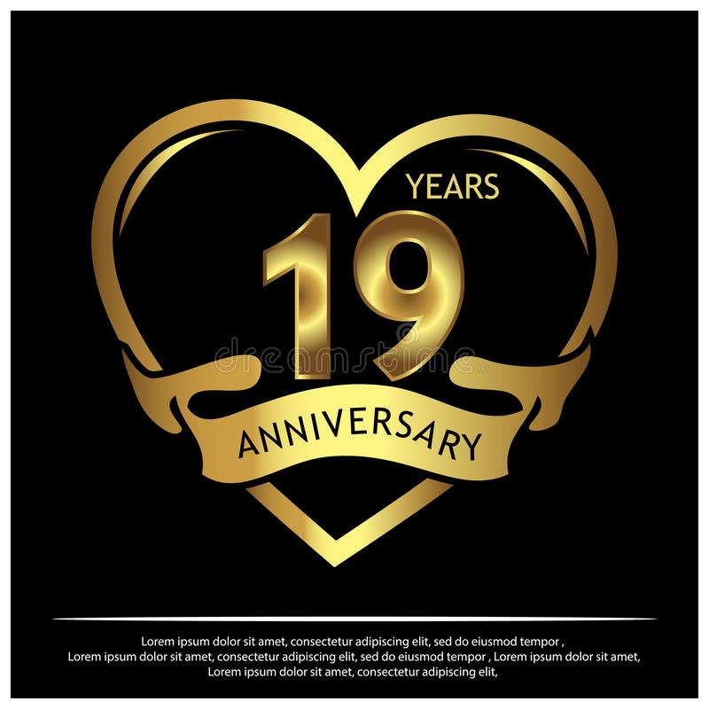 19 Jahre Jahrestag golden Jahrestagsschablonenentwurf für Netz, Spiel, kreatives Plakat, Broschüre, Broschüre, Flieger, Zeitschri vektor abbildung