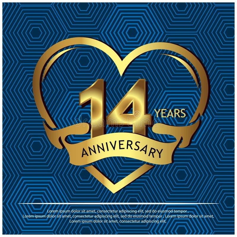 14 Jahre Jahrestag golden Jahrestagsschablonenentwurf f?r Netz, Spiel, kreatives Plakat, Brosch?re, Brosch?re, Flieger, Zeitschri vektor abbildung