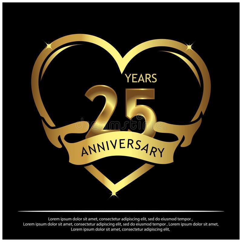 25 Jahre Jahrestag golden Jahrestagsschablonenentwurf f?r Netz, Spiel, kreatives Plakat, Brosch?re, Brosch?re, Flieger, Zeitschri stock abbildung