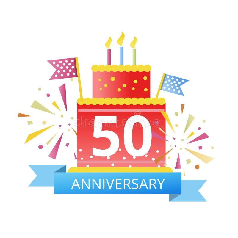 50 Jahre Jahrestag verbanden das Firmenzeichen, das auf weißem Hintergrund für Firmenfeierereignis lokalisiert wurde Vektor stock abbildung