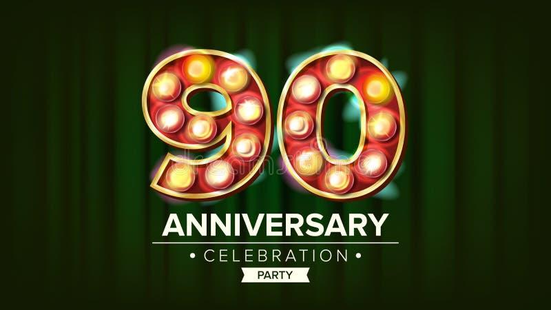 90 Jahre Jahrestags-Fahnen-Vektor- Neunzig Feier glühende Stellen des Element-3D Für alles Gute zum Geburtstag luxuriös stock abbildung