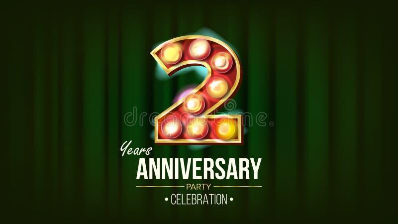 2 Jahre Jahrestags-Fahnen-Vektor- Zwei, zweite Feier glühende Stellen des Element-3D Für alles Gute zum Geburtstag luxuriös stock abbildung