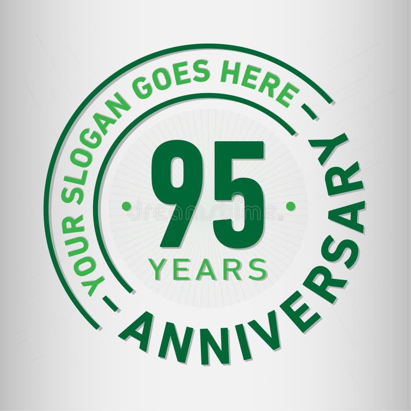 95 Jahre Jahrestags-Feier-Entwurfs-Schablonen- Jahrestagsvektor und -illustration Fünfundneunzig Jahre Logo stock abbildung