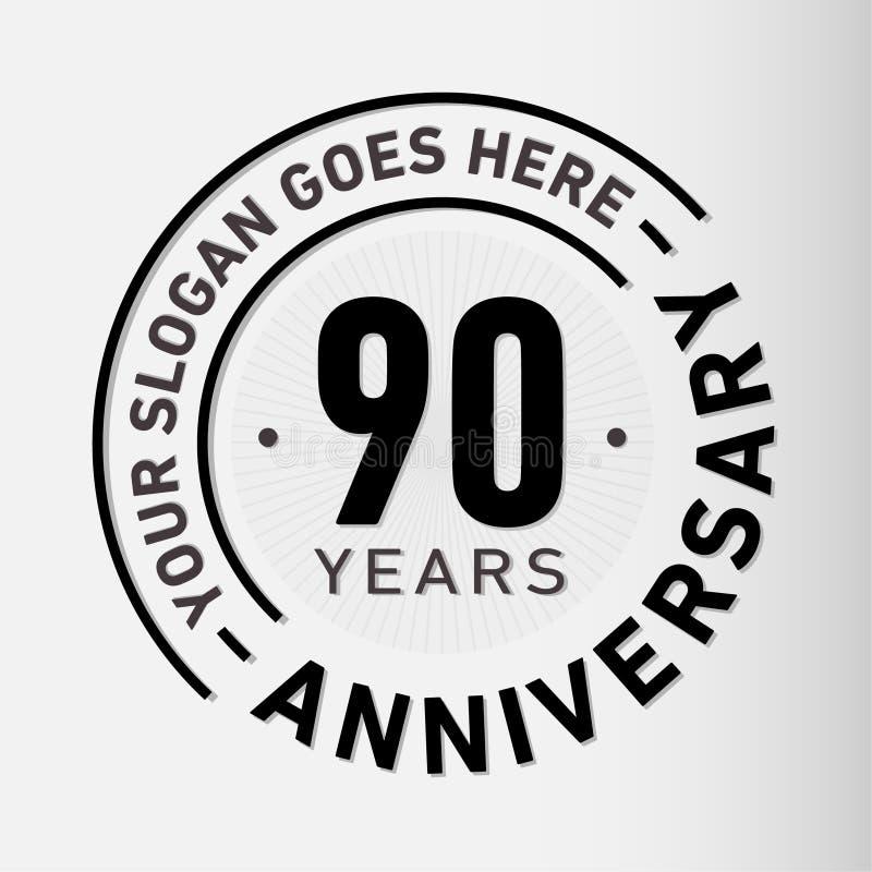 90 Jahre Jahrestags-Feier-Entwurfs-Schablonen- Jahrestagsvektor und -illustration Neunzig Jahre Logo lizenzfreie abbildung