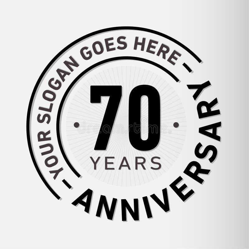 70 Jahre Jahrestags-Feier-Entwurfs-Schablonen- Jahrestagsvektor und -illustration Siebzig Jahre Logo vektor abbildung