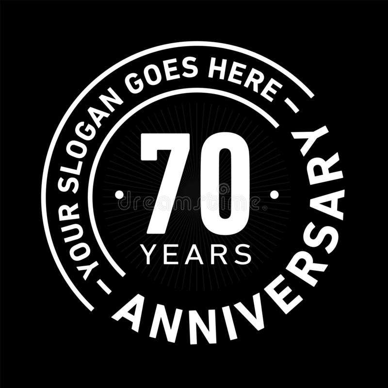 70 Jahre Jahrestags-Feier-Entwurfs-Schablonen- Jahrestagsvektor und -illustration Siebzig Jahre Logo stock abbildung