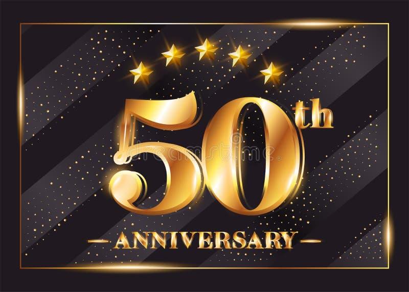 50 Jahre Jahrestags-Feier-Vektor-Firmenzeichen- lizenzfreie abbildung