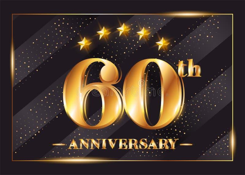 60 Jahre Jahrestags-Feier-Vektor-Firmenzeichen- lizenzfreie abbildung