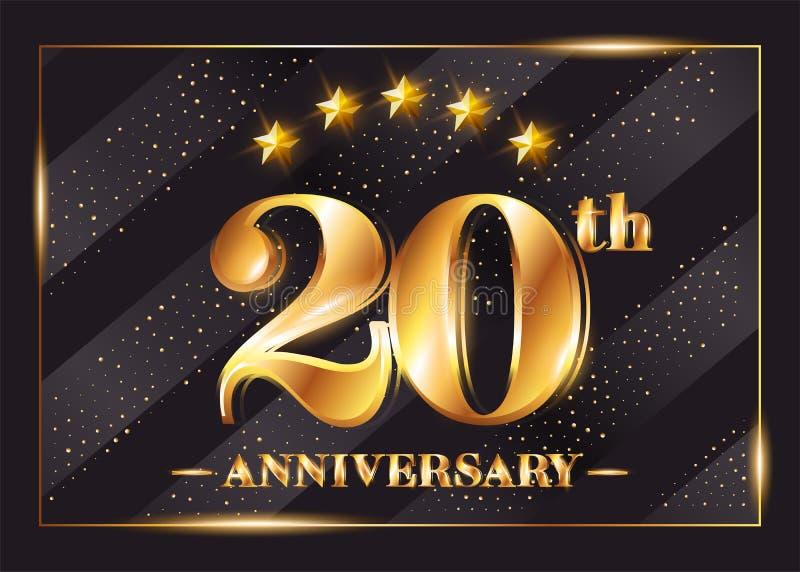 20 Jahre Jahrestags-Feier-Vektor-Logo- 20. Jahrestag vektor abbildung
