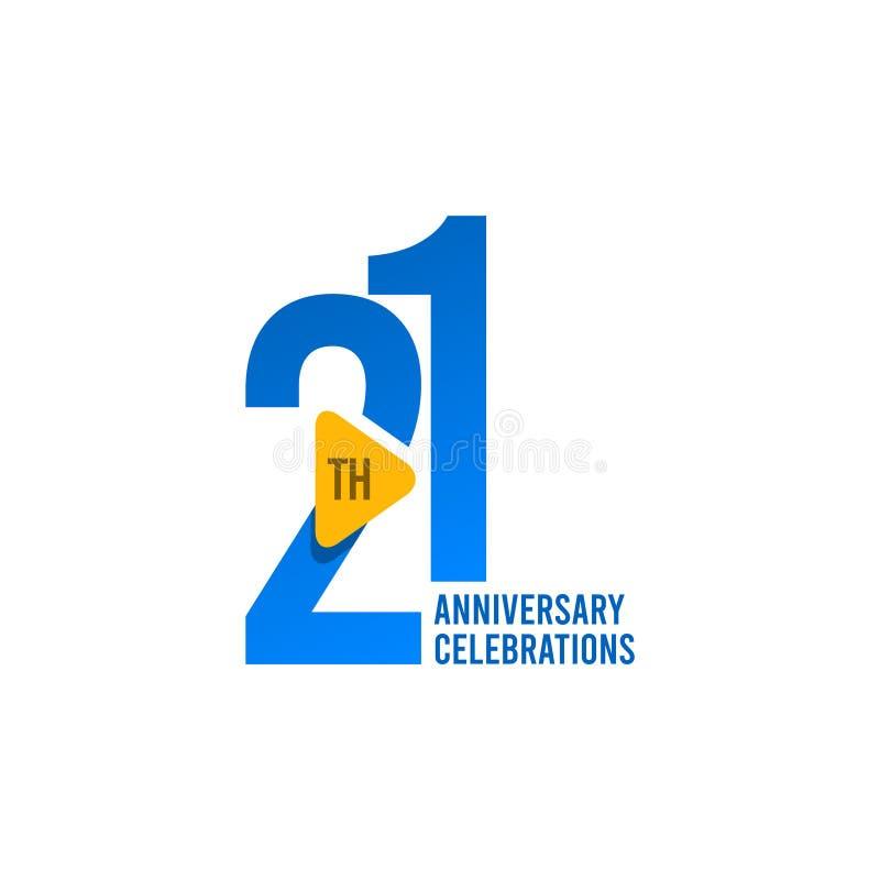 21 Jahre Jahrestags-Feier-Vektor-Schablonen-Entwurfs-Illustrations- vektor abbildung