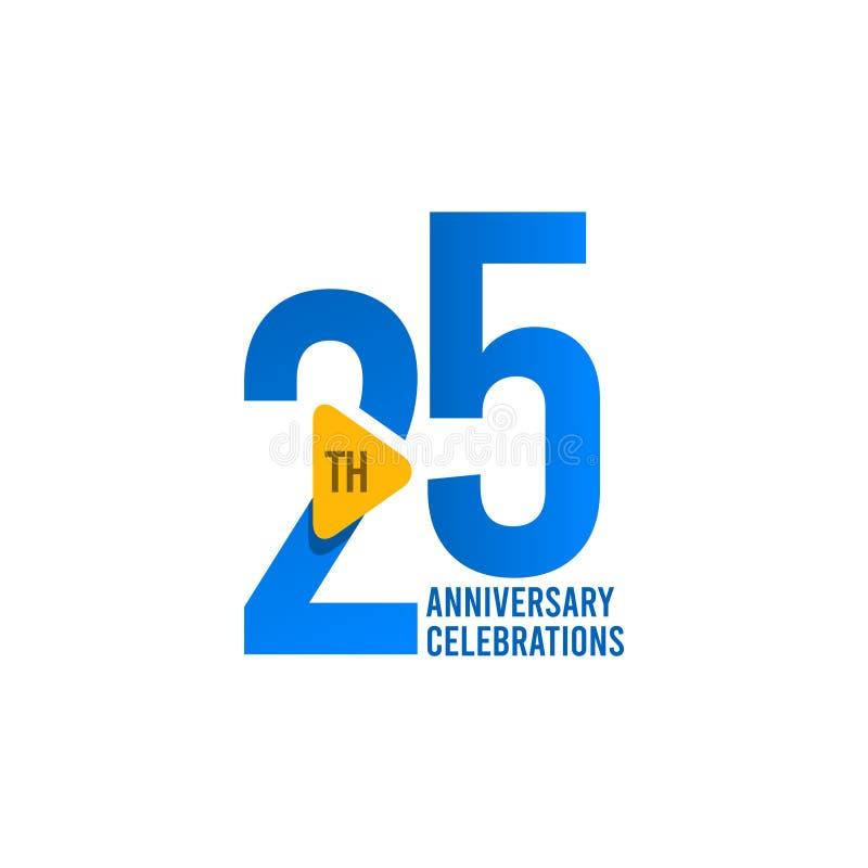 25 Jahre Jahrestags-Feier-Vektor-Schablonen-Entwurfs-Illustrations- lizenzfreie abbildung