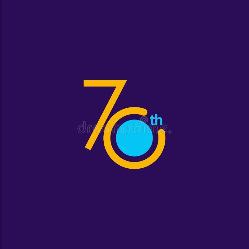 70 Jahre Jahrestags-Feier-Vektor-Schablonen-Entwurfs-Illustrations- vektor abbildung