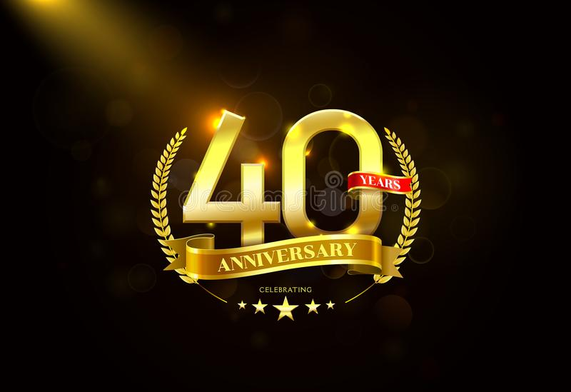 40 Jahre Jahrestags-mit Lorbeerkranz goldenem Band stockbilder
