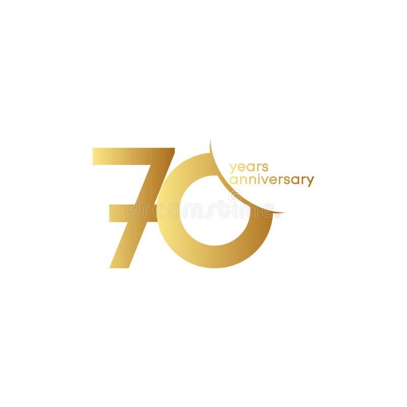 70 Jahre Jahrestags-Vektor-Schablonen-Entwurfs-Illustrations- stock abbildung
